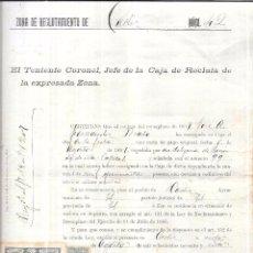 Militaria: SPANISH AMERICAN WAR. CERTIFICADO DE PAGO DE EXENCION DE GUERRA CUBA-FILIPINAS. 1897.. Lote 58126162