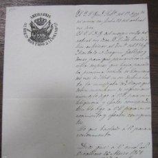 Militaria: ARTILLERIA 5ª REGIMIENTO MONTADO, 2ª COMANDANCIA. VICALVARO. 1861. PERMISO PARA PERMANENCIA PUESTO.. Lote 58174431