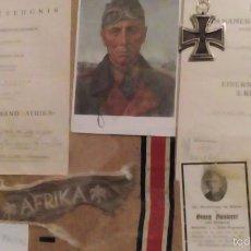 Militaria: AFRIKA KORPS LOTE 21 PZ DIVISIÓN PANZER CON TARJETA DE ROMMEL CON SU FIRMA. Lote 61429954