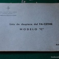 Militaria: LISTA DE DESPIECE DEL FUSIL DE ASALTO CETME MODELO C. GUARDIA CIVIL. ULTIMA UNIDAD DISPONIBLE. Lote 58828441