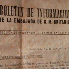 Militaria: BOLETIN DE INFORMACION DE LA EMBAJADA BRITANICA 14-11 -1945 RECIEN ACABADA LA 2 GUERRA MUNDIAL. Lote 58841296