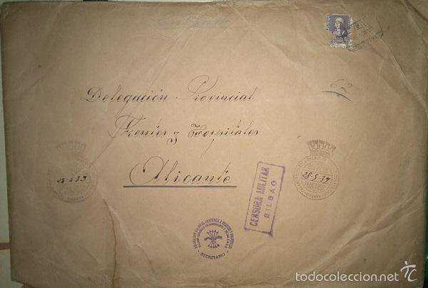COLECCION DE CIRCULARES DE FRENTES Y HOSPITALES 1938-39 ENVIADAS DE BILBAO A ALICANTE CARLISMO (Militar - Propaganda y Documentos)