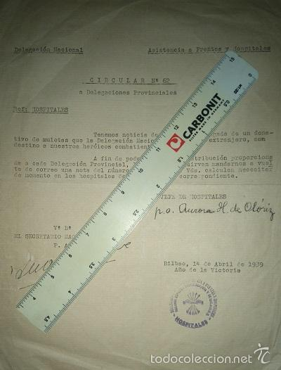 Militaria: COLECCION DE CIRCULARES DE FRENTES Y HOSPITALES 1938-39 ENVIADAS DE BILBAO A ALICANTE CARLISMO - Foto 3 - 58890076