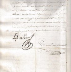Militaria: 1825 SAN FELIPE (JATIVA), ALBALAT RIBERA (VALENCIA) TERQUE (ALMERIA). DOCUMENTO SELLO CASTRENSE. Lote 59573399