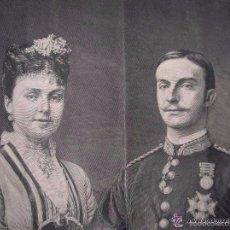 Militaria: GRAN RETRATO OFICIAL DE LOS REYES ALFONSO XII Y MARIA DE LAS MERCEDES. DATADO EN 1878.. Lote 59825200