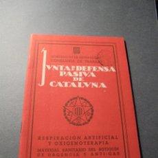 Militaria: GUERRA CIVIL - 1938 - JUNTA DE DEFENSA PASIVA DE CATALUÑA - RESPIRACION ARTIFICIAL Y OXIGENOTERAPIA . Lote 59914507