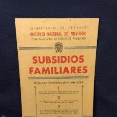 Militaria: INSTITUTO NACIONAL PREVISION SUBSIDIOS FAMILIARES FUNDAMENTOS HOJA DIVULGADORA Nº 40 1948 4ª ED. Lote 59969363
