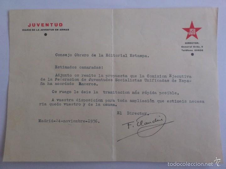JSU - JUVENTUD DIARIO DE LA JUVENTUD EN ARMAS, EDITORIAL ESTAMPA, FIRMADO DIRECTOR F. CLAUDIN (Militar - Propaganda y Documentos)