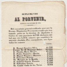 Militaria: SUPLEMENTO AL PORVENIR. LUNES 30 DE OCTUBRE DE 1854. CON EL ESCRUTINIO DE LAS ELECCIONES DE DIPUTA-. Lote 60165031