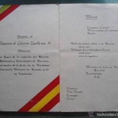 Militaria: ANTIGUO DOCUMENTO MILITAR - MENU ALMUERZO REGIMIENTO INFANTERIA CASTILLA 16 - AÑO 1958. Lote 60348455