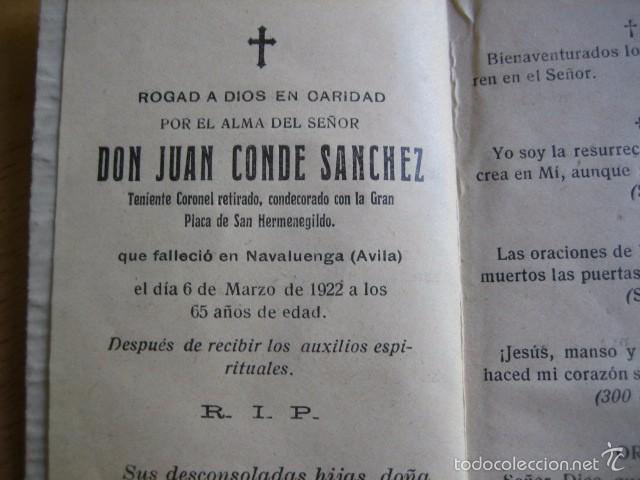RECORDATORIO TENIENTE CORONEL DEL EJÉRCITO ESPAÑOL. ÁVILA 1922 (Militar - Propaganda y Documentos)