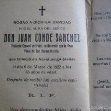 Militaria: RECORDATORIO TENIENTE CORONEL DEL EJÉRCITO ESPAÑOL. ÁVILA 1922. Lote 60704471