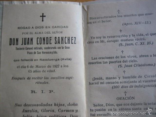 Militaria: Recordatorio teniente coronel del ejército español. Ávila 1922 - Foto 2 - 60704471