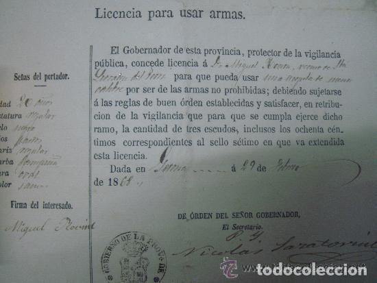 LICENCIA PARA USAR ARMAS DEL GOBIERNO DE LA PROVINCIA DE GERONA. 1868. (Militar - Propaganda y Documentos)