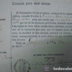 Militaria: LICENCIA PARA USAR ARMAS DEL GOBIERNO DE LA PROVINCIA DE GERONA. 1868.. Lote 61554980