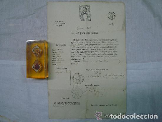 Militaria: LICENCIA PARA USAR ARMAS DEL GOBIERNO DE LA PROVINCIA DE GERONA. 1868. - Foto 2 - 61554980