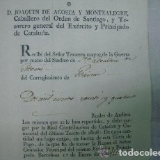 Militaria: FIRMA DE JOAQUIN DE ACOSTA.TESORERO DEL EXERCITO Y PRINCIPADO DE CATALUÑA. 1807.. Lote 61555204