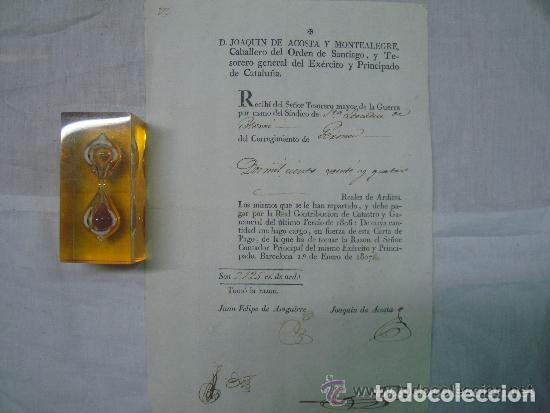 Militaria: FIRMA DE JOAQUIN DE ACOSTA.TESORERO DEL EXERCITO Y PRINCIPADO DE CATALUÑA. 1807. - Foto 2 - 61555204