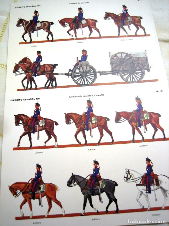 2 LÁMINAS SOLDADOS ESPAÑOLES 1910- MUSEO DEL EJÉRCITO (Militar - Propaganda y Documentos)