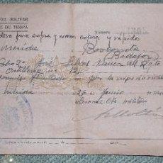 Militaria: ANTIGUO DOCUMENTO MILITAR - AUTORIZACION MILITAR PASAJE DE TROPA - MERIDA - BARCARROTA - AÑO 1944. Lote 61919576
