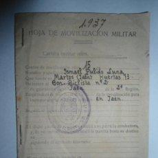 Militaria: ANTIGUA CARTILLA HOJA DE MOVILIZACION MILITAR - GUERRA CIVIL - 1937 - GUERRA CIVIL. Lote 61932652