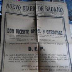 Militaria: ANTIGUA GRAN ESQUELA DE UN GENERAL - DIARIO BADAJOZ 1916. Lote 61932848