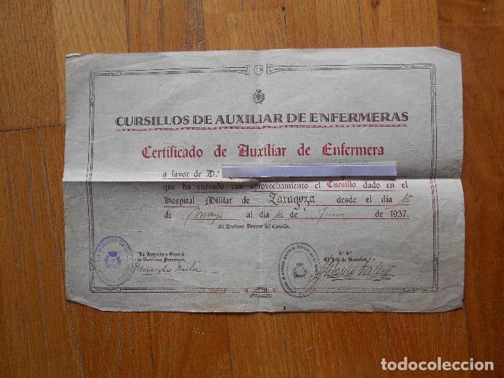 certificado de auxiliar de enfermera, guerra ci - Comprar Propaganda ...