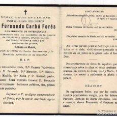 Militaria: RECORDATORIO FUNEBRE. FERNANDO CARBÓ. COMANDANTE, CONDECORADO FILIPINAS, AFRICA Y MERITO MILITAR.. Lote 62116448