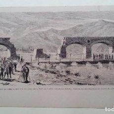 Militaria: CARLISMO 3ª GUERRA CARLISTA 1872- 1876 * PUENTEDE PONTONES SOBRE EL EBRO * ILUSTRACION DE PRENSA. Lote 62183480