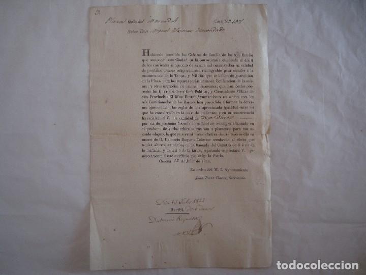 RARO DOCUMENTO SOBRE LA MANUTENCIÓN DE LA TROPA.BARRIO MERCADAL.GERONA.1822. FOLIO (Militar - Propaganda y Documentos)