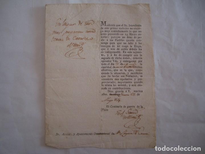 RARO DOCUMENTO DE RECAPTACIÓN POR EL COMISARIO DE GUERRA EN GERONA. 1814. FIRMA (Militar - Propaganda y Documentos)
