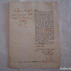 Militaria: RARO DOCUMENTO DE RECAPTACIÓN POR EL COMISARIO DE GUERRA EN GERONA. 1814. FIRMA. Lote 62214340