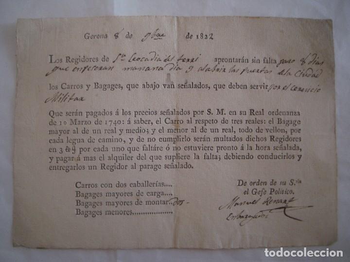 PAGO POR LOS CARROS MILITARES EN STA LEOCADIA DEL TERRI.GERONA.1822. FIRMADO (Militar - Propaganda y Documentos)
