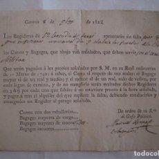 Militaria: PAGO POR LOS CARROS MILITARES EN STA LEOCADIA DEL TERRI.GERONA.1822. FIRMADO. Lote 62260060