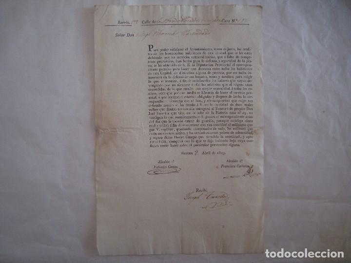 DOCUMENTO SOBRE LOS MILICIANOS DE LA CIUDAD DE GERONA. 1823. FOLIO.FIRMAS ALCALDES (Militar - Propaganda y Documentos)