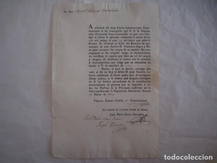 DOCUMENTO SOBRE EL EJÉRCITO Y EL AYUNTAMIENTO CONSTITUCIONAL.1823. FIRMAS ALCALDES (Militar - Propaganda y Documentos)
