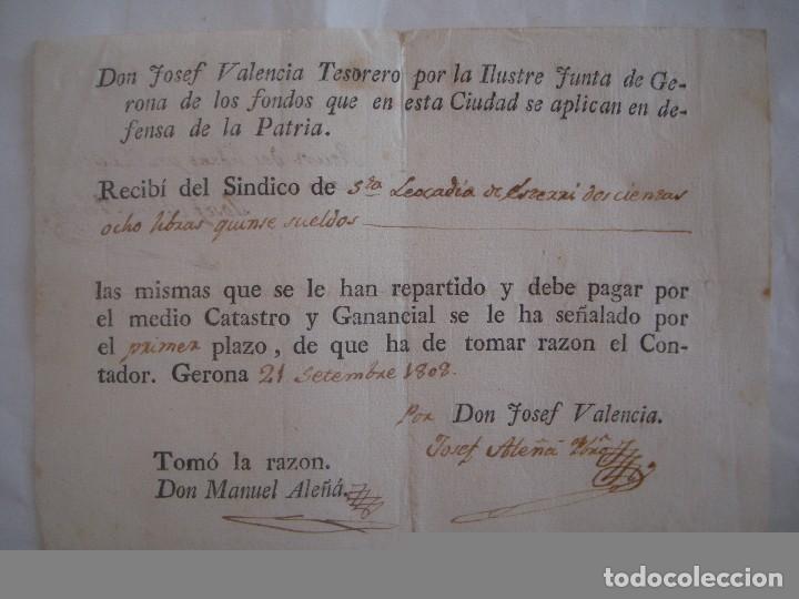 RARO DOCUMENTO SOBRE LOS FONDOS DE LA CIUDAD EN DEFENSA DE LA PATRIA.1808.GERONA. (Militar - Propaganda y Documentos)