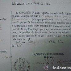 Militaria: LICENCIA PARA USAR ARMAS DEL GOBIERNO DE LA PROVINCIA DE GERONA. 1868.. Lote 62262864