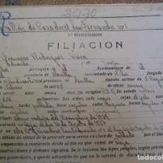 Militaria: HOJA DE SERVICIO SOLDADO DEL EJÉRCITO NACIONAL BATALLÓN DE CAZADORES SAN FERNANDO Nº1. GUERRA CIVIL. Lote 63318184