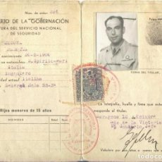 Militaria: AUTORIZACIÓN DE RESIDENCIA PARA EXTRANJEROS. COMANDANTE ITALIANO CTV ZARAGOZA 1941. Lote 64394631