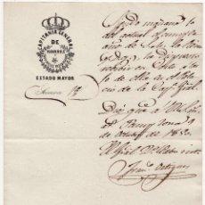 Militaria: OFICIO - SIENDO MAÑANA EL CUMPLEAÑOS DE LA REINA,ISABEL II.- RECIBIR EN LA CORTE EN EL PALACIO 1850. Lote 64728979