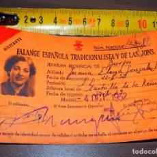 Militaria: MILITANTE FALANGE ESPAÑOLA TRADICIONALISTA Y DE LAS JONS MUJER 4 OCT 1952 CARNET BUEN ESTADO VINTAGE. Lote 64931295