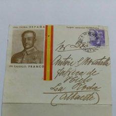 Militaria: TARJETA COMERCIAL. UNA PATRIA: ESPAÑA, UN CAUDILLO: FRANCO. FECHADA EN 1940. Lote 64976423