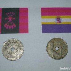 Militaria: LOTE 2 MONEDAS 25 CENTIMOS BANDO NACIONAL Y REPUBLICANO. Lote 149833745