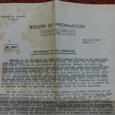 Militaria: BOLETIN DE INFORMACION 562. EMBAJADA DE ALEMANIA EN MADRID. RECORDANDO UN DIA MEMORABLE. FEBRER 1945. Lote 65848646