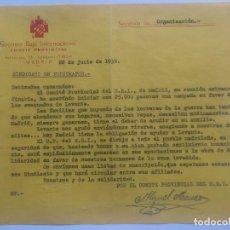 Militaria: SOCORRO ROJO INTERNACIONAL - COMITE PROVINCIAL AL SINDICATO DE FOTOGRAFOS, 22 DE JUNIO DE 1938. Lote 65954166