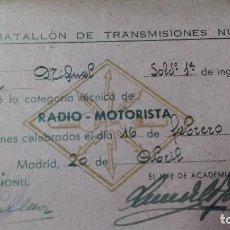 Militaria: BATALLON DE TRANSMISIONES Nº 1, RADIO MOTORISTA, SOLDADO DE 1ª DE INGENIEROS. Lote 66217270