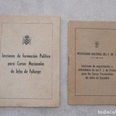 Militaria: LOTE DE DOS LIBROS DE LECCIONES PARA CURSOS DE LA FALANGE. Lote 66325434
