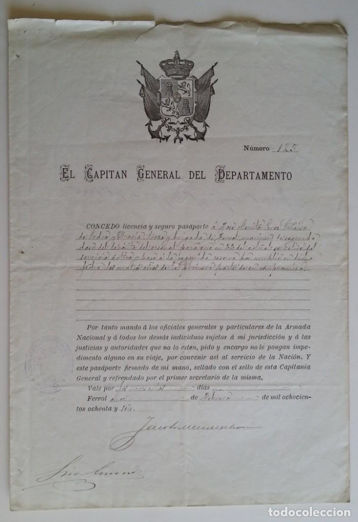 FERROL 1886 * EL CAPITÁN GENERAL CONCEDE LICENCIA Y PASAPORTE A MILITAR DEL FERROL (Militar - Propaganda y Documentos)