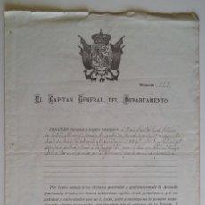 Militaria: FERROL 1886 * EL CAPITÁN GENERAL CONCEDE LICENCIA Y PASAPORTE A MILITAR DEL FERROL. Lote 66871290